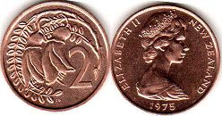 coin New Zealand 2 cents 1975
