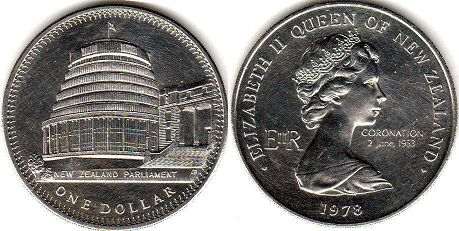 coin New Zealand 1 dollar 1978