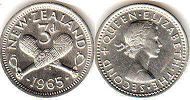 coin New Zealand 3 pence 1965