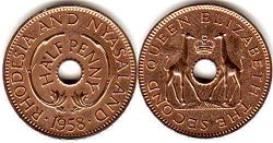 coin Rhodesia and Nyasaland half penny 1958
