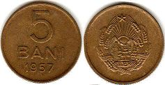 coin Romania 5 bani 1957