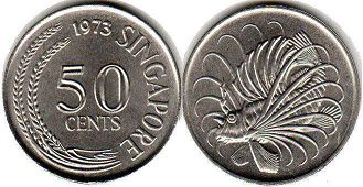 coin Singapore 50 cents 1973