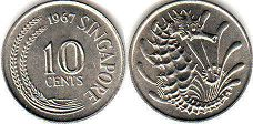 coin singapore10 cents 1967