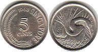 coin Singapore 5 cents 1968