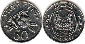 coin Singapore 50 cents 2001