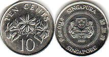 coin singapore10 cents 1989