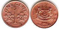 coin singapore1 cent 2001