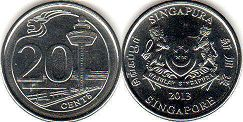 coin singapore20 cents 2013