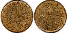 piece Tunisia 1 franc 1945