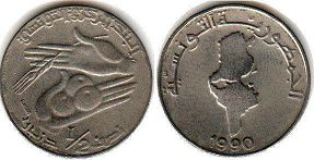 piece Tunisia 1/2 dinar 1990