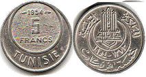 piece Tunisia 5 francs 1954