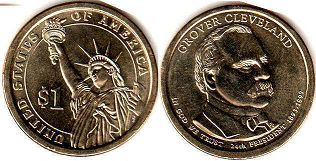 coin US commemorative coin 1 dollar 2012 President dollar Cleveland