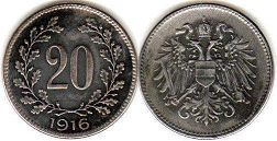 coin Austrian Empire 20 heller 1918