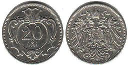 coin Austrian Empire 20 heller 1894