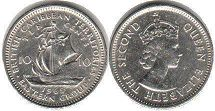 coin British Caribbean Territories 10 cents 1965
