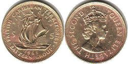coin British Caribbean Territories 5 cents 1965