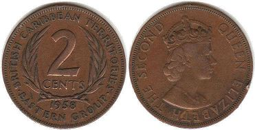 coin British Caribbean Territories 2 cents 1958