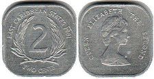 coin Eastern Caribbean States 2 cents 1981