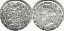 coin Ceylon 25 cents 1899