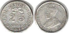 coin Ceylon 25 cents 1919