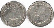 coin Ceylon 10 cents 1914