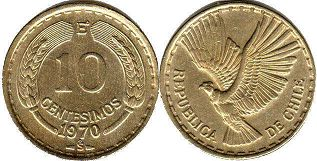 moneda Chille 10 centesimos 1970