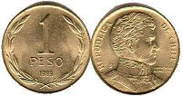moneda Chilli 1 peso 1989