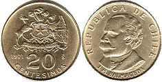 moneda Chille 20 centesimos 1971