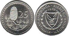 coin Cyprus 25 mils 1978