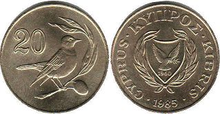 coin Cyprus 20 cents 1985