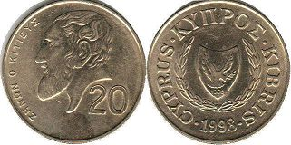 coin Cyprus 20 cents 1998
