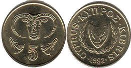 coin Cyprus 5 cents 1992