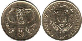 coin Cyprus 5 cents 1987