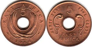 coin EAST AFRICA 5 cents 1964