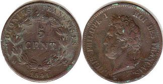 coin French Colonies 5 centimes 1841