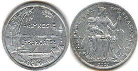 coin French Polynesia 1 franc 2007