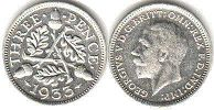 coin UK old coin 3 pence 1933