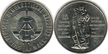 coin East Germany 10 mark 1985