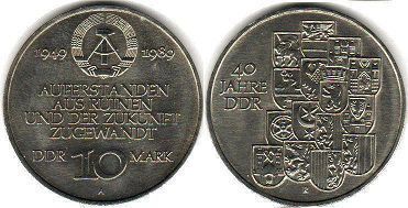 coin East Germany 10 mark 1989