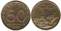 coin East Germany 50 pfennig 1950