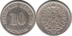 coin German Empire 10 pfennig 1888
