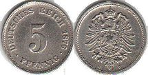 coin German Empire 5 pfennig 1876