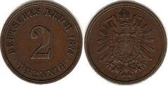 coin German Empire 2 pfennig 1874