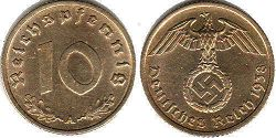 coin Nazi Germany 10 pfennig 1938