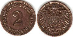coin German Empire 2 pfennig 1912