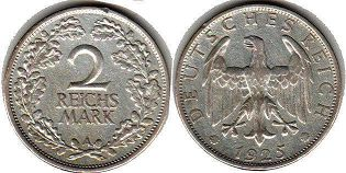 coin German Weimar 2 mark 1925