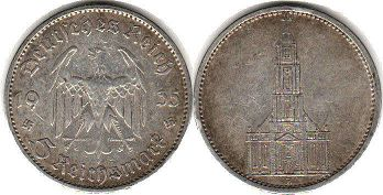 coin Nazi Germany 5 mark 1935