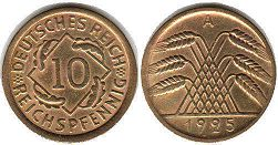 coin German Weimar 10 pfennig 1925