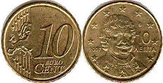 coin Greece 10 euro cent 2007