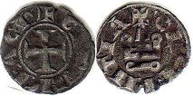 coin Achaea denier ND (1245-1278)